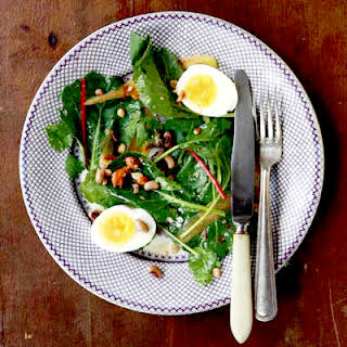 Collard Greens Salad with Peanut Vinaigrette.