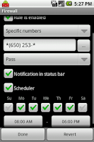 Screenshot of Firewall: Call and SMS filter