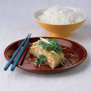 Steamed Striped Bass with Ginger and Scallions.