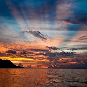 sunset at Mahe by Dmitry Samsonov - Landscapes Sunsets & Sunrises ( indian ocean, mahe, sunset, seascape, seychelles, island,  )