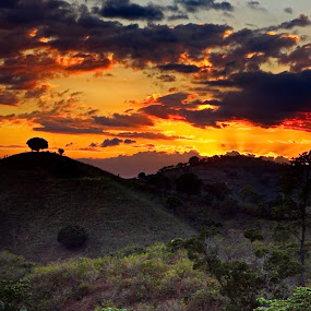 sunset eerie by Charles Saunders - Novices Only Landscapes ( cool, creepy, mountain, sunset, dominican republic )