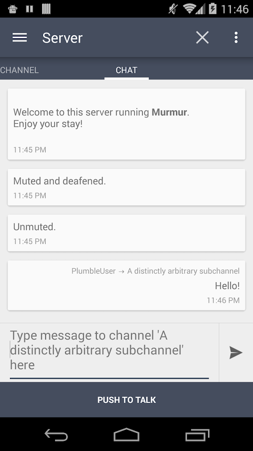 Plumble - Mumble VOIP – Screenshot