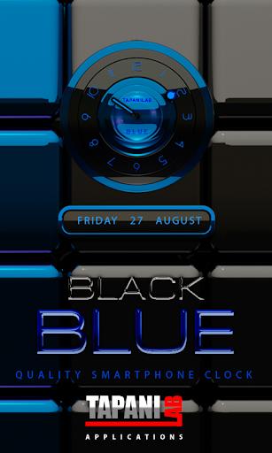 黑藍色時鐘小部件類比
