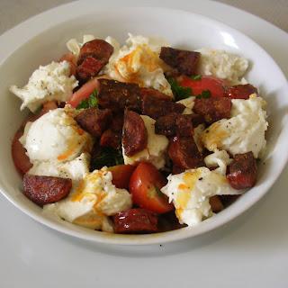 Tomato and Mozzarella Salad with Chorizo.