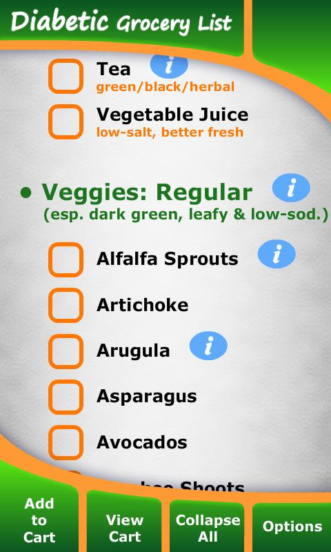 Diabetic Grocery List - Android Apps on Google Play