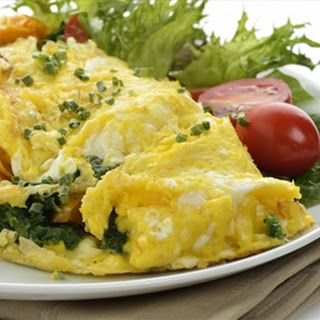 Greek Potato Spinach And Feta Cheese Omelet.