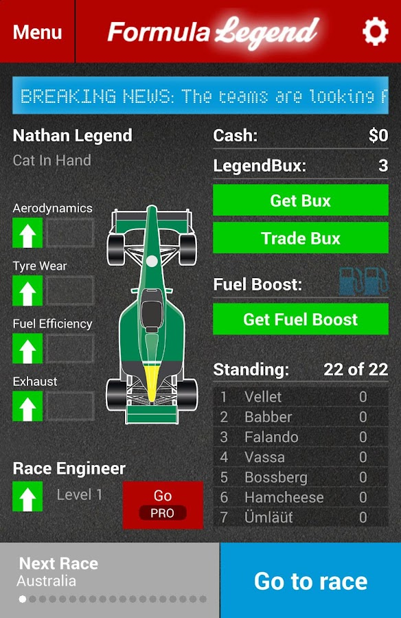 Formula Legend: Racing Manager - screenshot