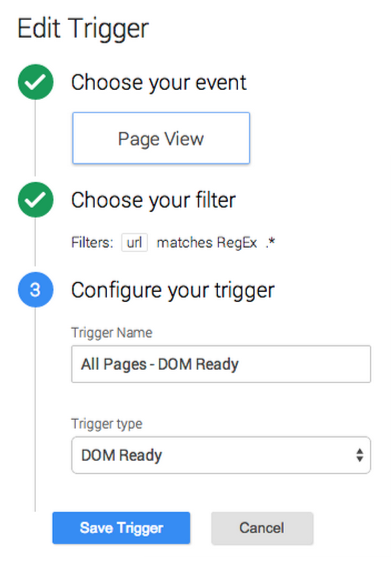 Edit Trigger event page view, url matches regex, trigger type dom ready