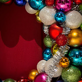 Wreath by Jennifer Bacon - Public Holidays Christmas ( holiday, balls, winter, colors, christmas, door, wreath )