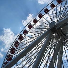 Ferris Wheel, Navy Pier by Sandra Fouty - City,  Street & Park  Markets & Shops ( navy pier, illinois, sky, blue, chicago, ferris wheel )