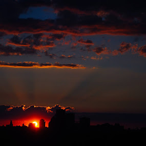 Sun on the city by Heather Donahue - Landscapes Sunsets & Sunrises