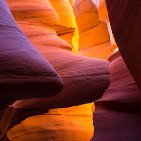by Photoxor AU - Landscapes Caves & Formations ( moods, colorful, stone, rock, object, vibrant, landscape, slot canyon, inspiration, january, arizona, emotions, antelope canyon, light, lower antelope canyon, orange, purple, colors, happiness, portrait, color, views, filter forge, earth, landscapes, mood factory,  )