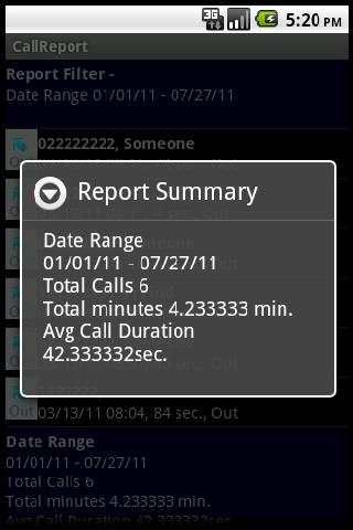Call Report- screenshot