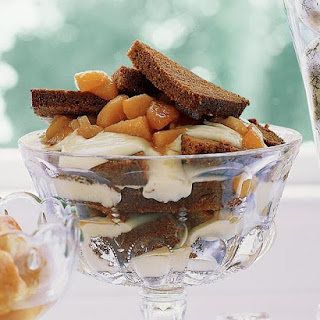 Gingerbread Trifle with Cognac Custard and Pears.