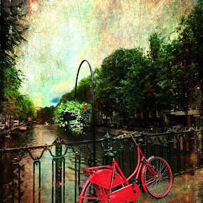 The Red Bicycle by Randi Grace Nilsberg - Transportation Bicycles ( ride, vertical, old, europe, colorful, street, retro, amsterdam, transportation, travel, parked, spring, bicycle, city, bike, city view, metal, transport, sunny, dutch, classic, sightseeing, water, cycle, romantic, tourism, traditional, canal, netherlands, landmark, urban, tourist, european, red, vacation, season, biking, holland, outdoor, summer, scene, bridge, view, river )