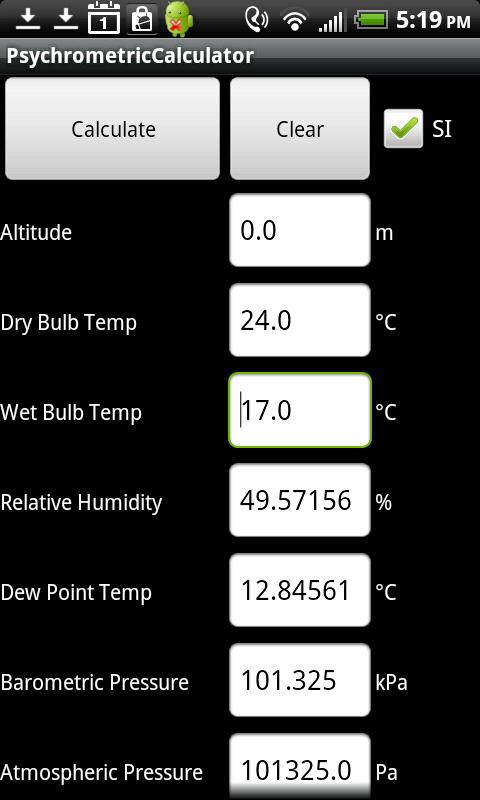 Air Lite Psychrometric Calcs - screenshot