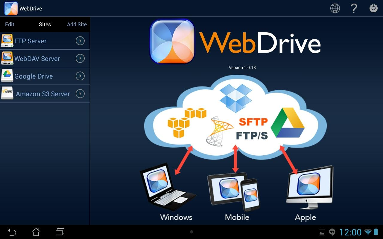 WebDrive, File Transfer Client – Capture d'écran