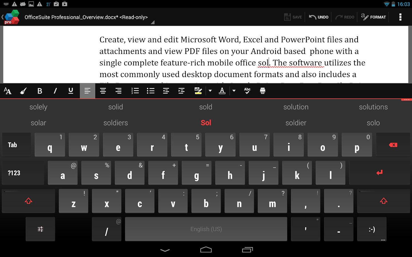 OfficeSuite QuickWrite- screenshot
