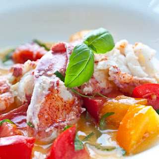 Butter Poached Lobster with Fresh Tomatoes.