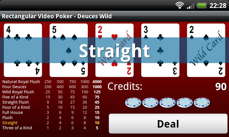 Rectangular Video Poker - screenshot
