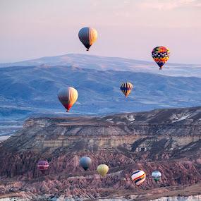 sunrise in cappadocia by Sorin Tanase - Landscapes Travel ( nature, sunrise, balloons, landscape, cappadocia )
