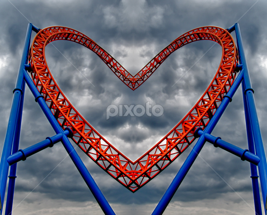 Love Rollercoaster by Andrew Seymour - Public Holidays Valentines Day ( valentine's day, love, stormy, heart, summer, roller coaster, storm clouds, storm, hersey park, postcard )