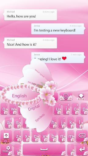 粉紅色的花朵鍵盤