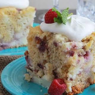 Slow-Cooker White Chocolate Raspberry and Cream Cake.