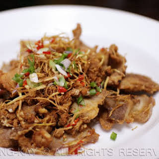FRIED PORK BELLY WITH SALTED FISH.