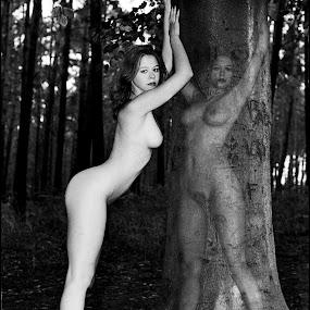 Self-reflection by Etienne Chalmet - Digital Art People ( erotic, girls, sexy, nude, beauty,  )