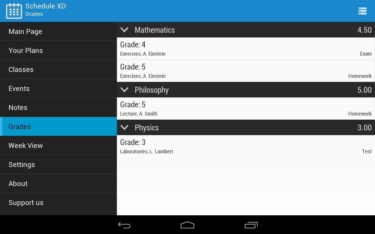 Schedule XD - screenshot