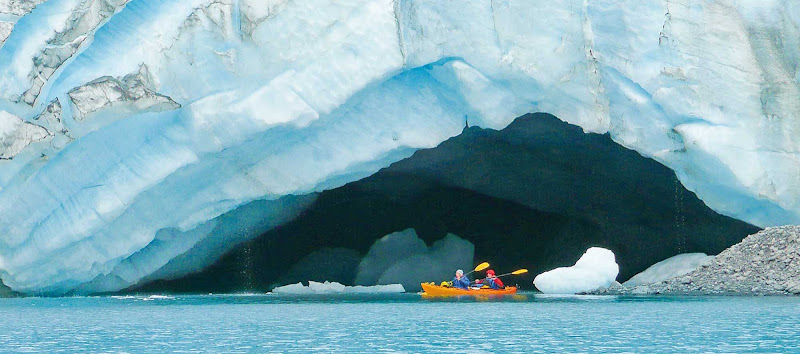 Kayak through the icy blue seas of Alaska, one of the activities offered on your Princess cruise.