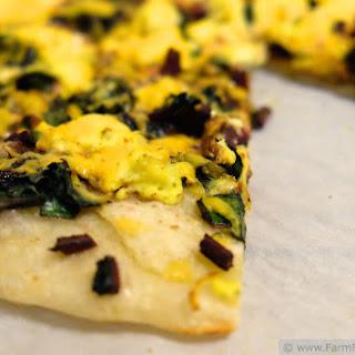 Scrambled Egg & Beet Greens Pizza