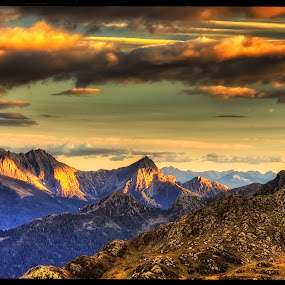 Dolomites from distance by Petr Klingr - Landscapes Sunsets & Sunrises ( clouds, hdr, sunset, dolomites, alps )