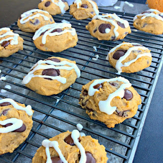 Dark Chocolate Chip Pumpkin Cookies with Cream Cheese Drizzle.