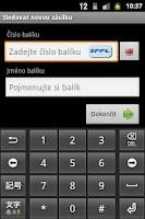 Screenshot of Sledování zásilek
