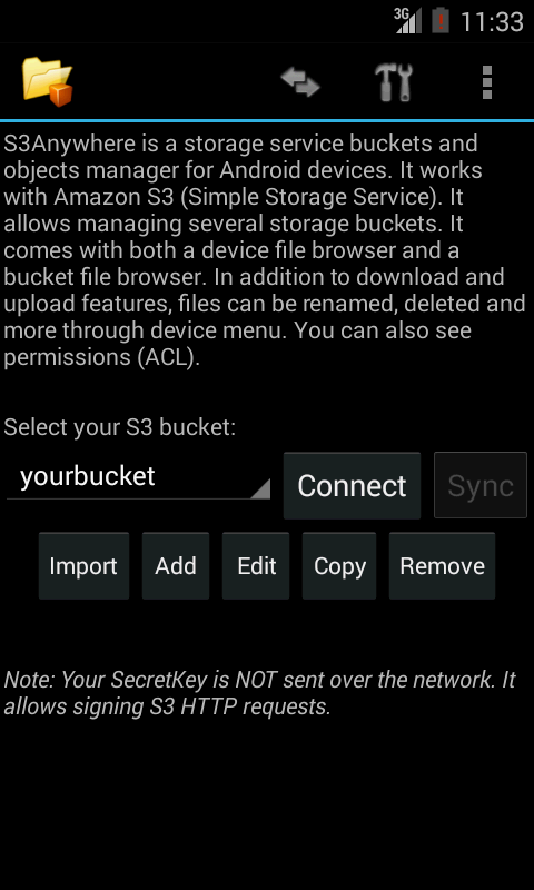 S3Anywhere (Amazon S3 cloud)- screenshot