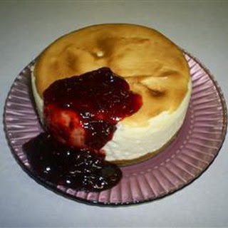 Lemon Soufflé Cheesecake with Blueberry Compote