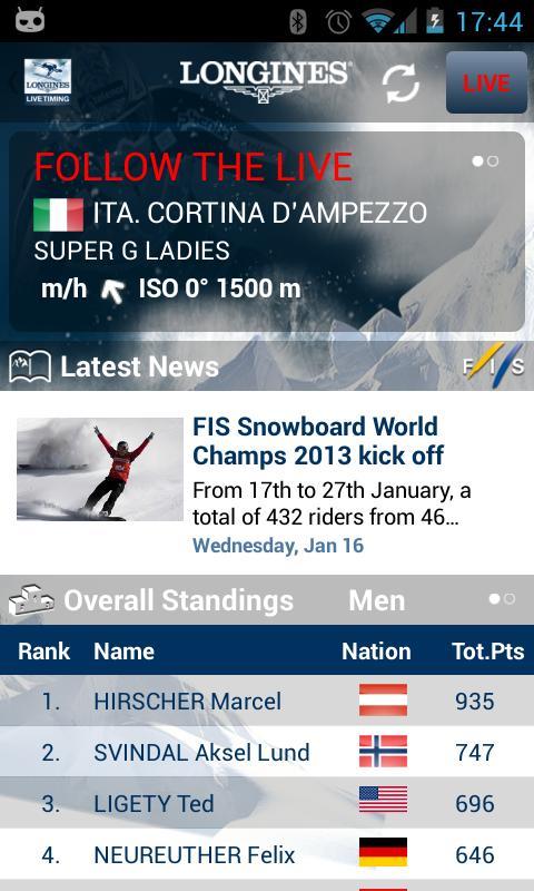 Live Alpine Skiing by Longines - screenshot