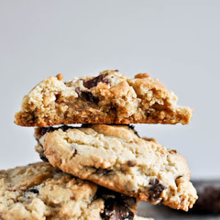 Chewy Peanut Butter Cookies with Chocolate Candied Bacon.