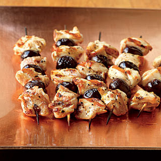 Lemon-Marinated Chicken and Olive Skewers.