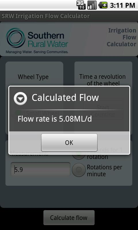 SRW Irrigation Flow Calculator- screenshot