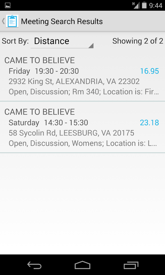 Meeting Finder- screenshot