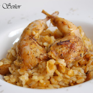Baked Rustic Rice with Quail, Wild Mushroom, and Thyme.