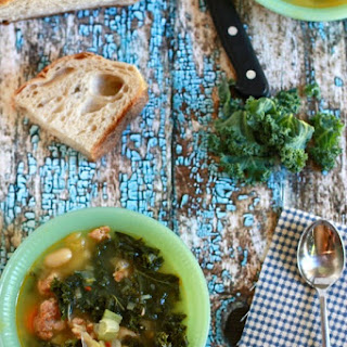 Kale and White Bean Soup with Golden Beets and Spicy Sausage