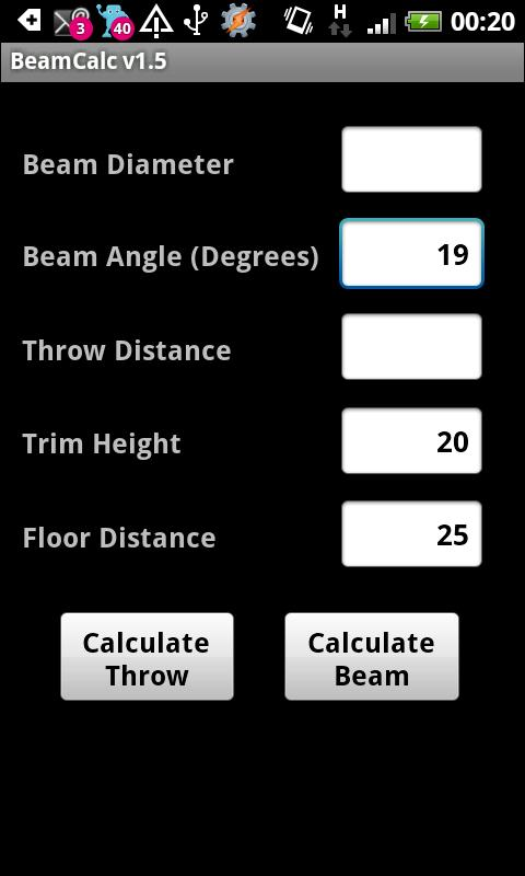 Lighting Beam Calculator - screenshot