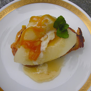 Braised Pears with Brandy Orange Sauce.