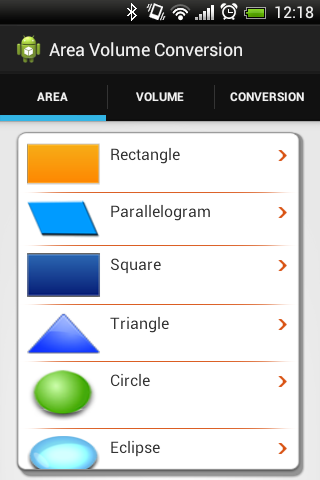 Area Volume and Conversion- screenshot
