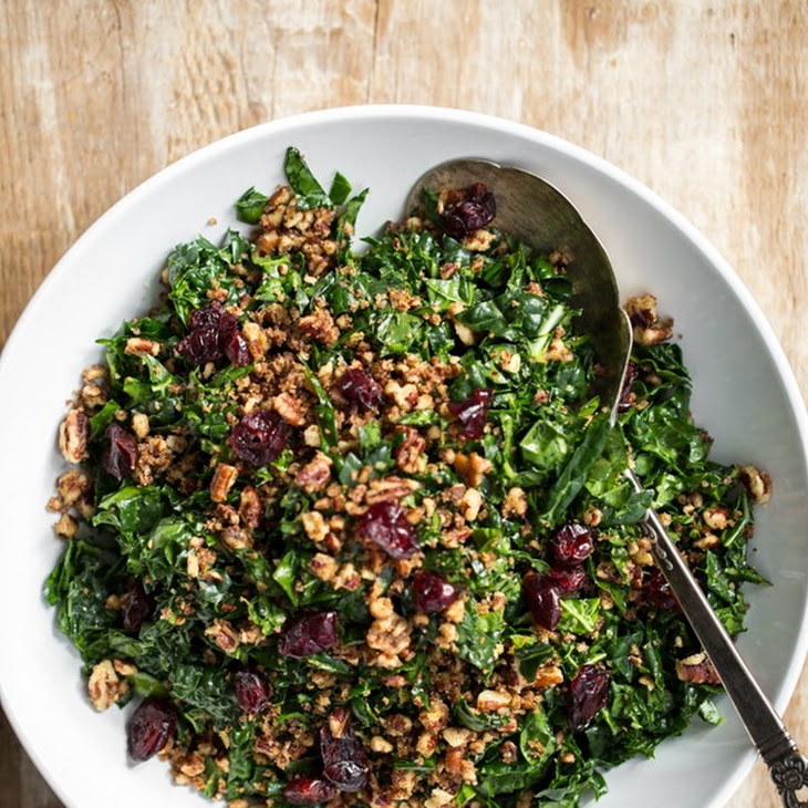 The Best Shredded Kale Salad with Pecan Parmesan and Cranberries Recipe