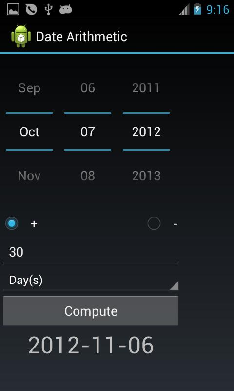 Date Arithmetic- screenshot